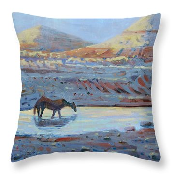 Throw Pillow featuring the painting Water Hole by Donald Maier
