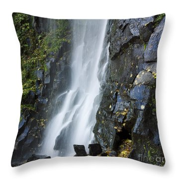 Waterfall Of Vaucoux. Puy De Dome. Auvergne. France Throw Pillow by Bernard Jaubert