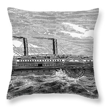 4 Wheel Steamship, 1867 Throw Pillow by Granger