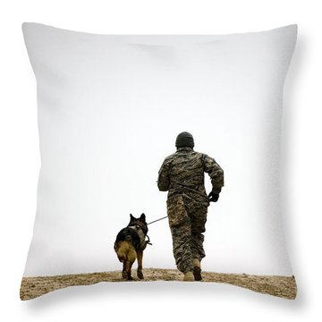 A Dog Handler And His Military Working Throw Pillow