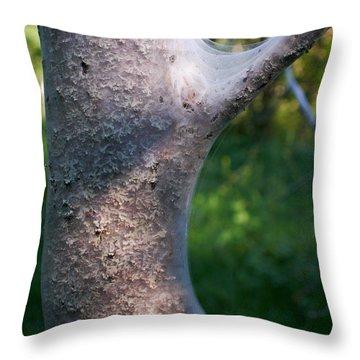 Bird-cherry Ermine Caterpillars Throw Pillow by Jouko Lehto
