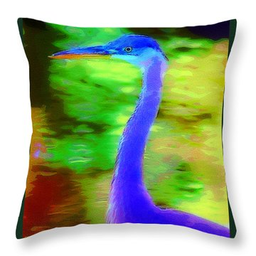 Throw Pillow featuring the photograph blue Heron by Donna Bentley