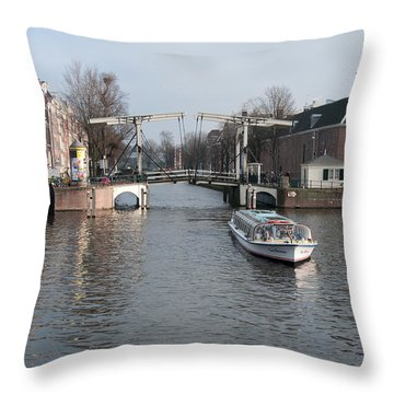 Throw Pillow featuring the digital art City Scenes From Amsterdam by Carol Ailles
