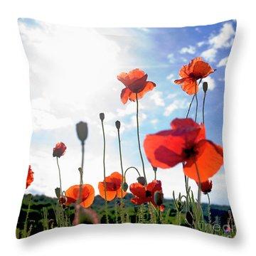 Field Of Poppies. Throw Pillow by Bernard Jaubert