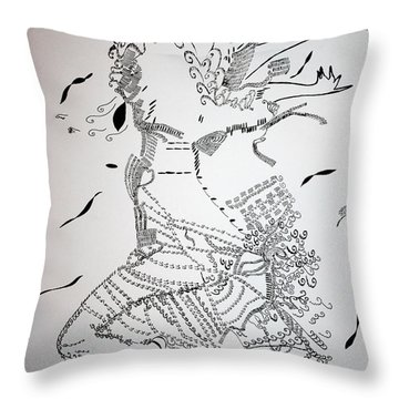 Throw Pillow featuring the drawing Kiganda Dance - Uganda by Gloria Ssali
