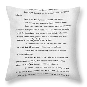 Roosevelt Speech, 1941 Throw Pillow by Granger