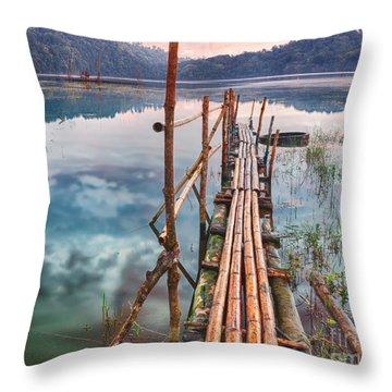 Tamblingan Lake Throw Pillow by MotHaiBaPhoto Prints