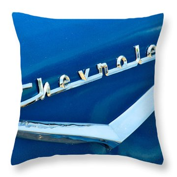 57 Chevy Bel Air Emblem Throw Pillow by Mark Dodd