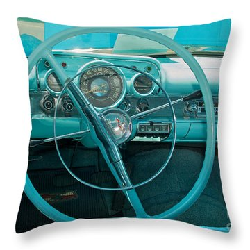 57 Chevy Bel Air Interior 2 Throw Pillow