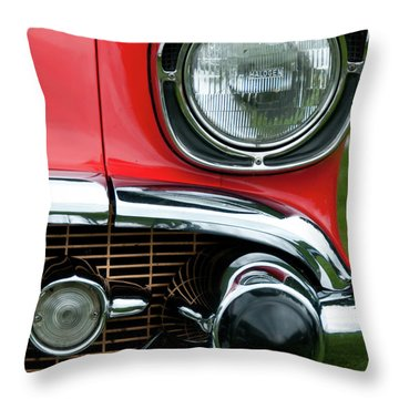 57 Chevy Left Front 8560 Throw Pillow by Guy Whiteley
