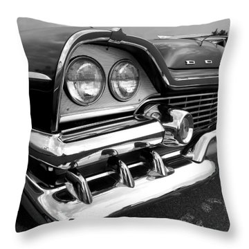 58 Plymouth Fury Black And White Throw Pillow