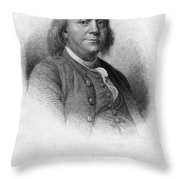 Benjamin Franklin, American Polymath Throw Pillow by Photo Researchers