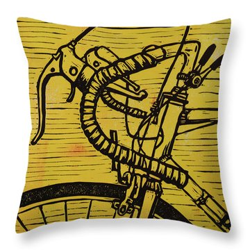 Throw Pillow featuring the drawing Bike 2 by William Cauthern