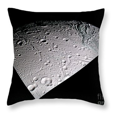 Enceladus Surface Throw Pillow by NASA / Science Source