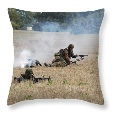 Evacuation Of A Wounded Soldier By An Throw Pillow by Luc De Jaeger