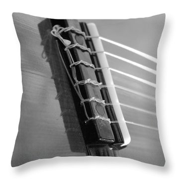 Throw Pillow featuring the photograph 6 String Bw by Elizabeth Sullivan