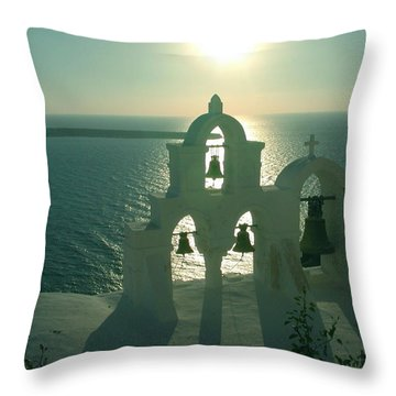 Throw Pillow featuring the photograph Sunset Santorini Greece by Colette V Hera  Guggenheim