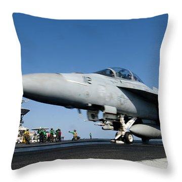 An Fa-18f Super Hornet Launches Throw Pillow by Stocktrek Images