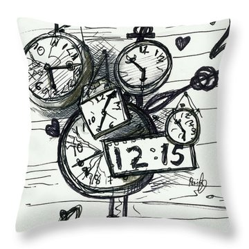 Broken Clocks Throw Pillow