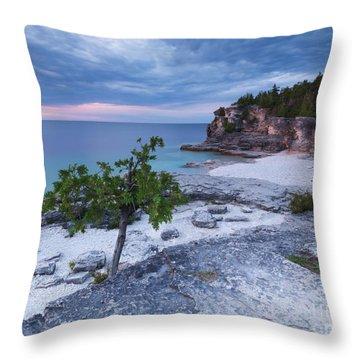 Georgian Bay Cliffs At Sunset Throw Pillow by Oleksiy Maksymenko