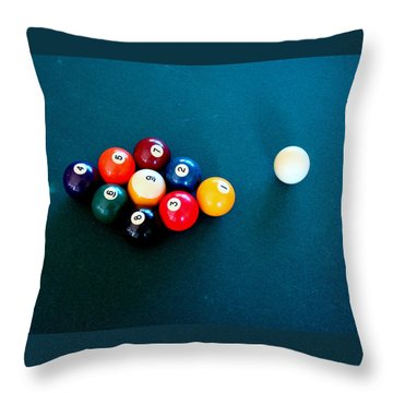 9 Ball Throw Pillow by Nick Kloepping