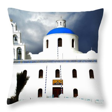 Throw Pillow featuring the photograph Santorini Greece by Colette V Hera  Guggenheim