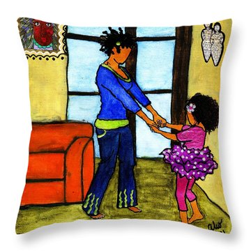 A Ballerina In The Making Throw Pillow by Angela L Walker