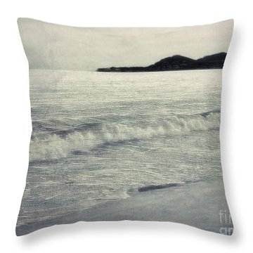 A Beach In Mexico In Black And White Throw Pillow by Billie-Jo Miller