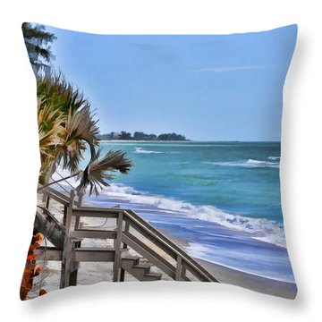 A Beach Scene Throw Pillow
