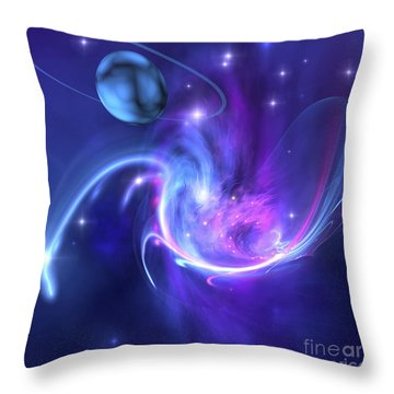 A Beautiful Nebula And A Ringed Planet Throw Pillow