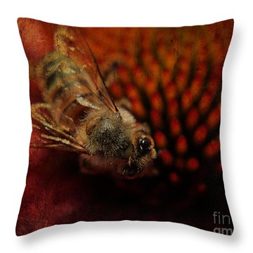 a Bee Throw Pillow by Billie-Jo Miller