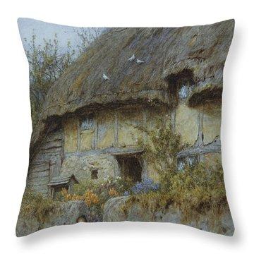 A Berkshire Cottage  Throw Pillow by Helen Allingham