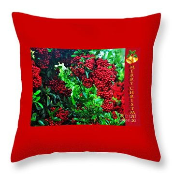 A Berry Merry Christmas Throw Pillow by Kaye Menner