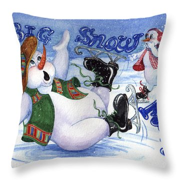 A Big Snow Fall Throw Pillow