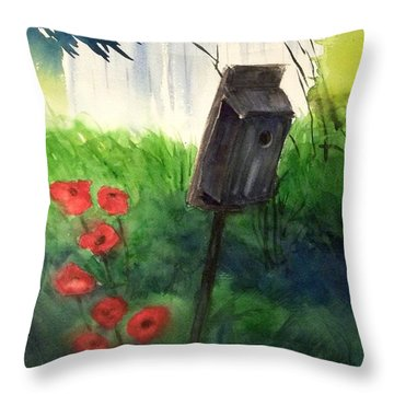 Throw Pillow featuring the painting A Bird House In The Geddes Farm --ann Arbor Michigan by Yoshiko Mishina