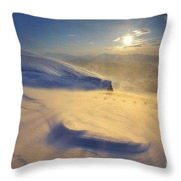 A Blizzard On Toviktinden Mountain Throw Pillow by Arild Heitmann