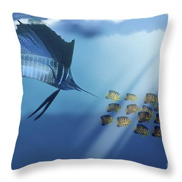 A Blue Marlin Swims After A School Throw Pillow by Corey Ford