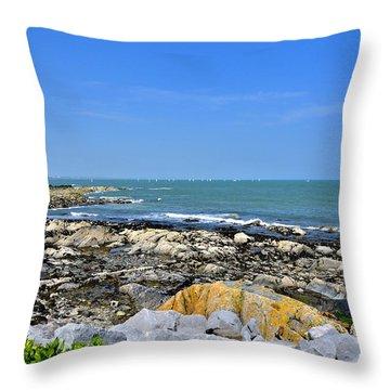 A Blue Skerries Sky Throw Pillow by Martina Fagan