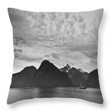A Boat In The Water Along The Coast Throw Pillow by David DuChemin