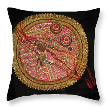 Throw Pillow featuring the photograph A Bowl Of Rakhis In A Decorated Dish by Ashish Agarwal