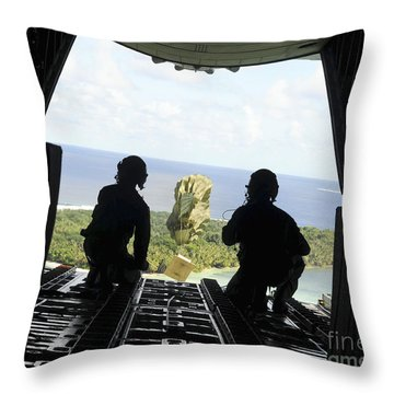A Box Of Humanitarian Goods Travels Throw Pillow by Stocktrek Images