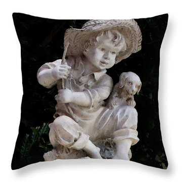 A Boy And His Dog Throw Pillow