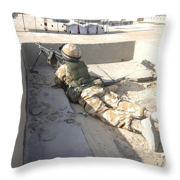 A British Soldier Provides Security Throw Pillow by Andrew Chittock