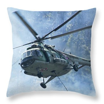 A Bulgarian Air Force Mi-17 Helicopter Throw Pillow
