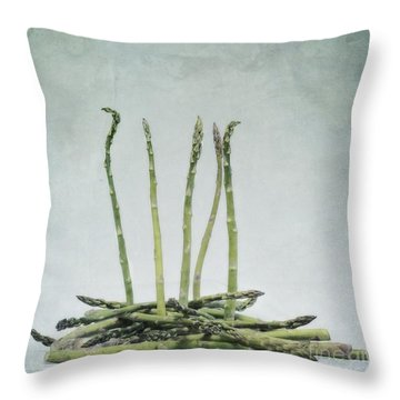 A Bunch Of Asparagus Throw Pillow by Priska Wettstein