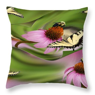 A Busy Garden Throw Pillow
