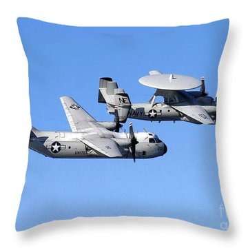 A C-2a Greyhound And A E-2c Hawkeye Throw Pillow by Stocktrek Images