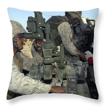 A Cannoneer Looks Through The Sights Throw Pillow by Stocktrek Images