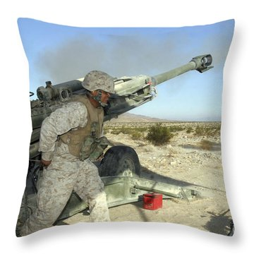 A Cannoneer Uses His Body To Pull Throw Pillow by Stocktrek Images