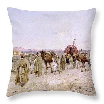 A Caravan Near Biskra Throw Pillow by PJB Lazerges